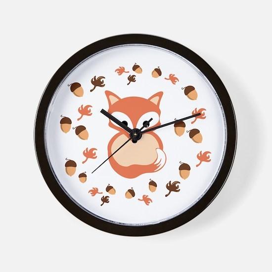 Fox in autumn Wall Clock