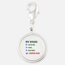 My Brain, 90% Mountain Biking Silver Round Charm