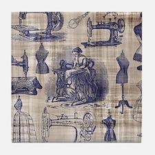 Vintage Sewing Toile Tile Coaster