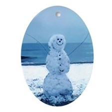 Snowman Beach Oval Ornament