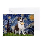 Starry / Saint Bernard Greeting Cards (Pk of 20)
