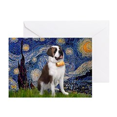 Starry / Saint Bernard Greeting Cards (Pk of 10)