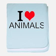 I Love Animals baby blanket