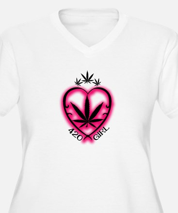 420 Girl Heart Weed Plus Size T-Shirt