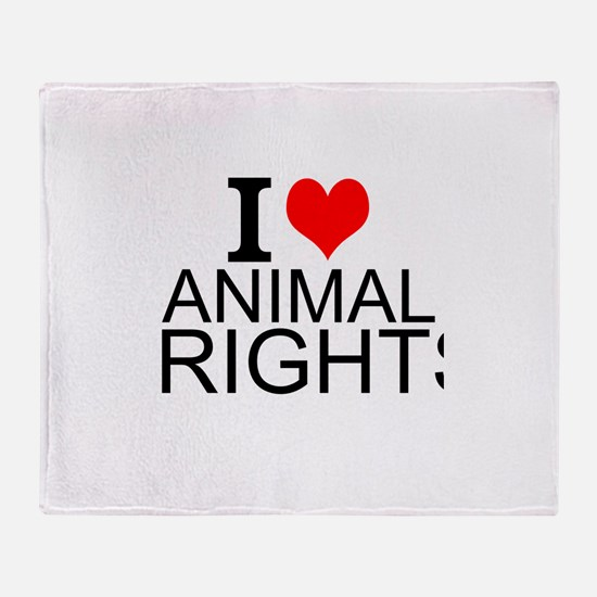I Love Animal Rights Throw Blanket