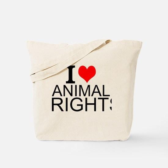 I Love Animal Rights Tote Bag