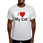 I Love My Cat (Front) Ash Grey T-Shirt