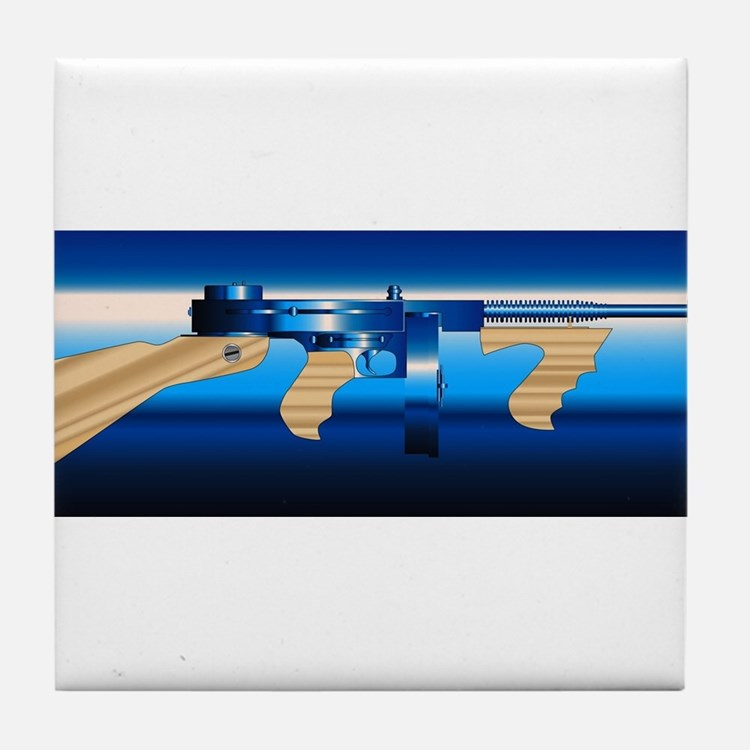 Gangsters Tommy Gun Tile Coaster