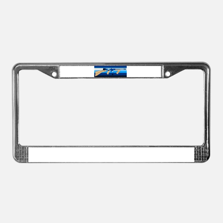 Gangsters Tommy Gun License Plate Frame