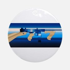 Gangsters Tommy Gun Round Ornament