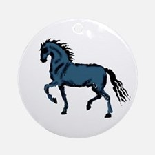 Baroque Horse Woodblock Ornament (Round)