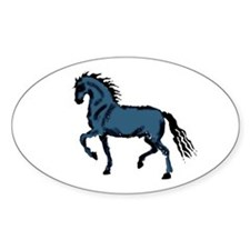 Baroque Horse Woodblock Oval Decal