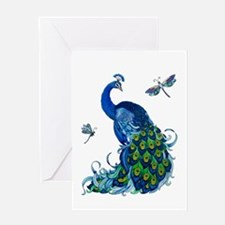 Blue Peacock and Dragonflies Greeting Cards