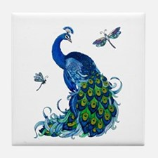 Blue Peacock and Dragonflies Tile Coaster