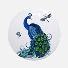 Blue Peacock and Dragonflies Round Ornament