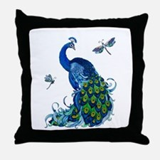 Blue Peacock and Dragonflies Throw Pillow