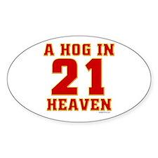 (21) A HOG IN HEAVEN Oval Decal