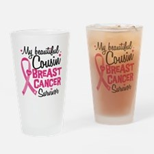 Cousin Breast Cancer Drinking Glass