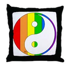 Rainbow Yin Yang Throw Pillow