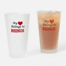 My heart belongs to Rhinos Drinking Glass