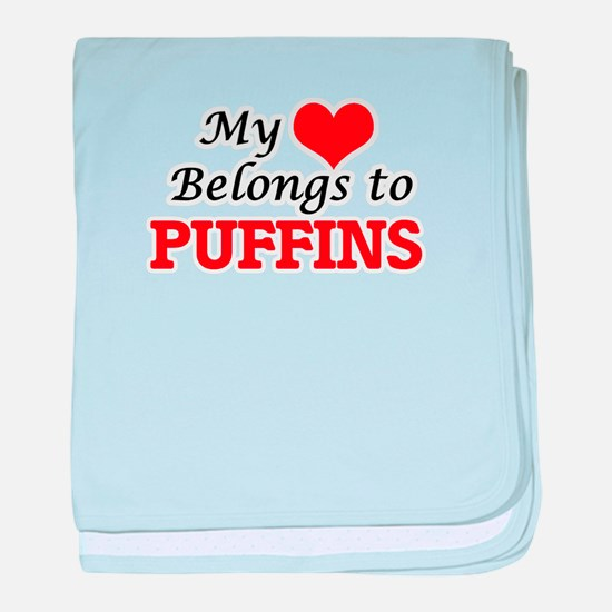 My heart belongs to Puffins baby blanket