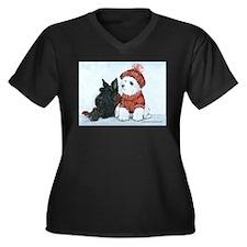 Scottie & Westie Snow Dogs Women's Plus Size V-Nec