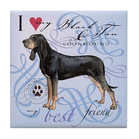 Black and Tan Coonhound Tile Coaster