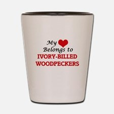 My heart belongs to Ivory-Billed Woodpe Shot Glass