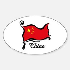 Funky Chinese Flag Oval Decal