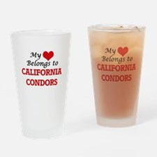 My heart belongs to California Cond Drinking Glass