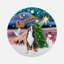 Xmas Magic Greater Swiss Mt Dog Ornament (Round)