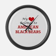 My heart belongs to American Blac Large Wall Clock