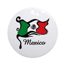 Funky Mexican Flag Ornament (Round)