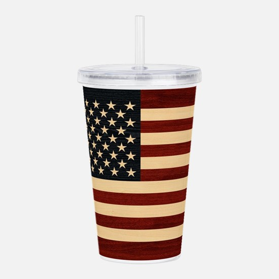 USA FLAG WOOD Acrylic Double-wall Tumbler