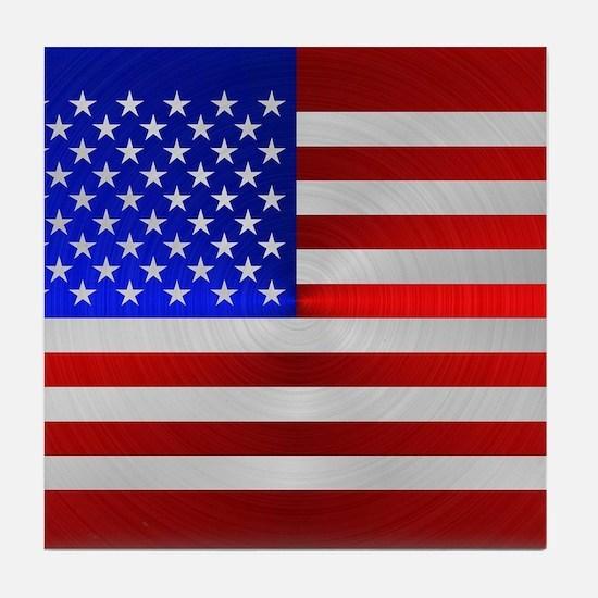 USA FLAG METAL 2 Tile Coaster