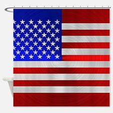 USA FLAG METAL 2 Shower Curtain