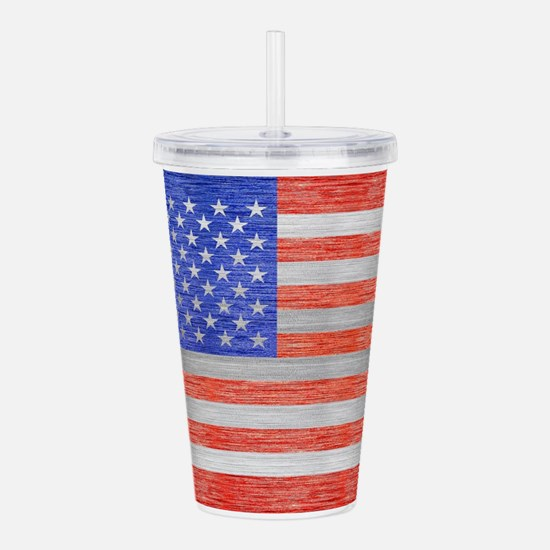 USA FLAG METAL 1 Acrylic Double-wall Tumbler