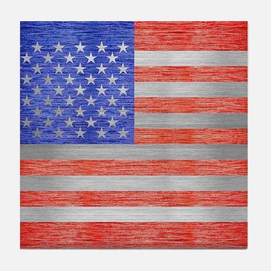 USA FLAG METAL 1 Tile Coaster
