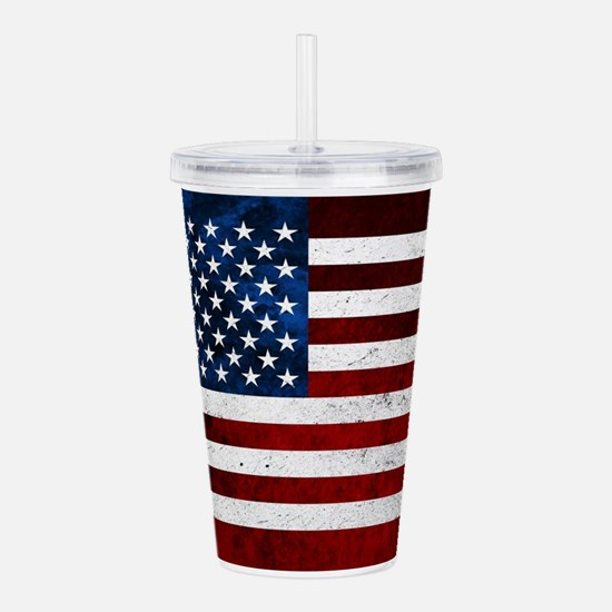 USA FLAG GRUNGE Acrylic Double-wall Tumbler