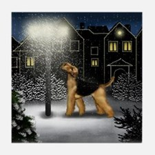 AIREDALE TERRIER DOG SNOW CITY Tile Coaster