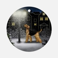 AIREDALE TERRIER DOG SNOW CITY Ornament (Round)