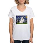 Starry / Samoyed Women's V-Neck T-Shirt