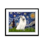 Starry / Samoyed Framed Panel Print