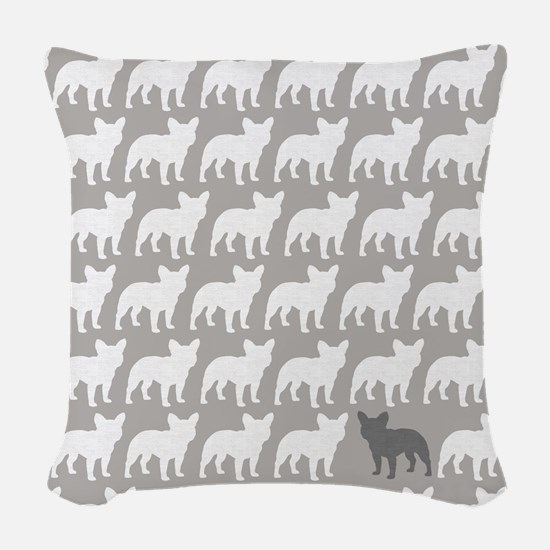 French Bulldogs Pattern Woven Throw Pillow