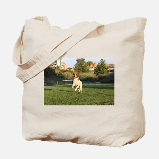 Leaping Brittany Spaniel Tote Bag