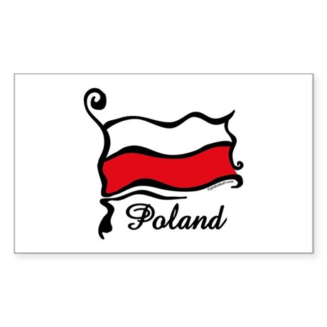 Funky Polish Flag Rectangle Sticker