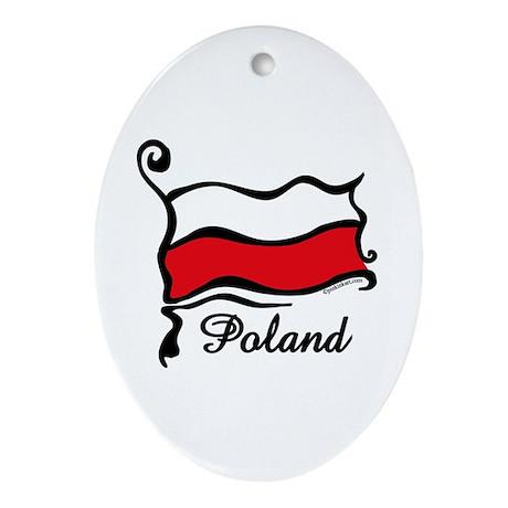 Funky Polish Flag Oval Ornament