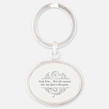 Funny Nerd Oval Keychain