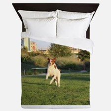Leaping Brittany Spaniel Queen Duvet