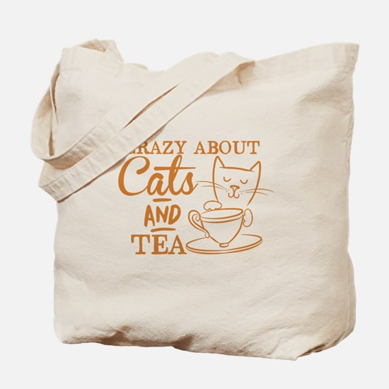 Crazy about cats and tea Tote Bag